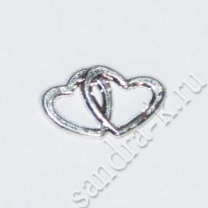 Декоративные серебряные сердечки HW-04