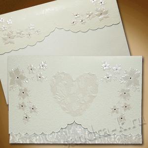 Приглашение на свадьбу Ванильное сердце 140023