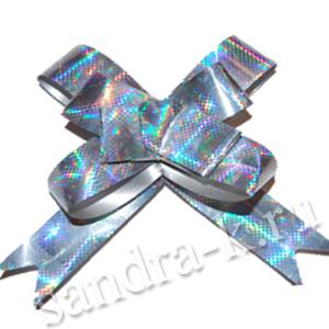 Бант-бабочка 18 мм голографический серебряный