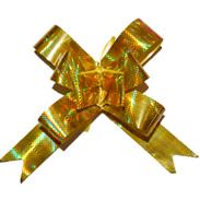 Бант-бабочка 30 мм голографический золотой