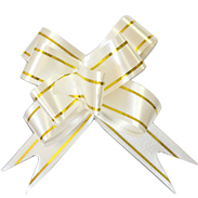 Бант-бабочка 12 мм с золотой полосой белый