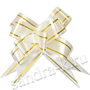 Бант-бабочка 49 мм белый с золотой полосой