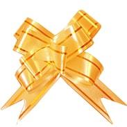 Бант-бабочка 12 мм с золотой полосой оранжевый