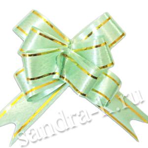 Бант-бабочка 18 мм с золотой полосой светло-зеленый