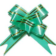 Бант-бабочка 23 мм с золотой полосой зеленый