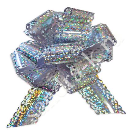 Бант-шар 50ГА голографический ажурный серебряный