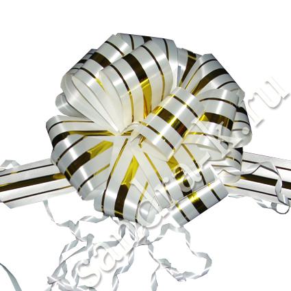 Бант-шар 50В с тремя золотыми полосами белый