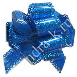 Бант-шар 50ГА голографический ажурный синий