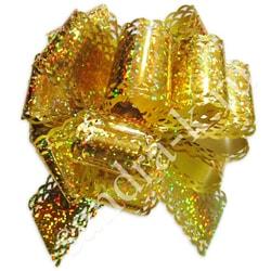 Бант-шар 50ГА голографический ажурный золотой