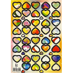 Наклейка сердечки металл. 38574