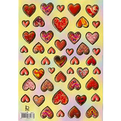 Наклейка сердечки металл. 38577