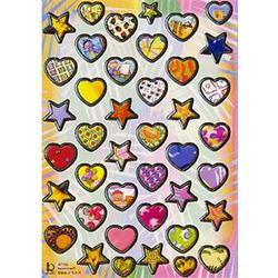 Наклейка сердца и звезды металл. 47193