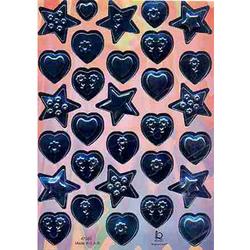 Наклейка сердца и звезды металл. 47205