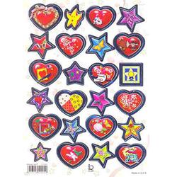 Наклейка сердца и звезды металл.510099