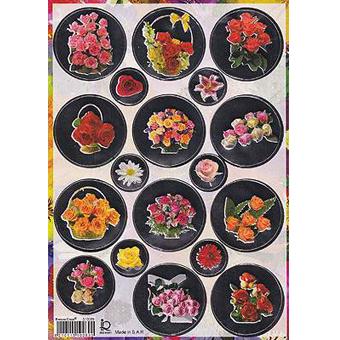 Наклейка цветы металл. 510089