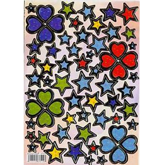 Наклейка сердца и звезды металл. 47014