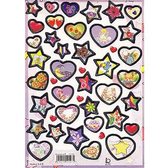 Наклейка сердца и звезды металл. 510097