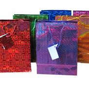 Сумки 26-32-10 см голографические бумажные МИКС G1081