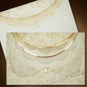 Приглашение на свадьбу с золотыми сердечками 140004