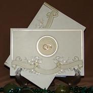Свадебное приглашение с золотыми колечками 150126-т2