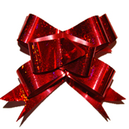 Бант-бабочка 18 мм голографический красный