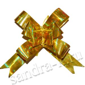 Бант-бабочка 12 мм голографический золотой