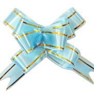 Бант-бабочка 18 мм с золотой полосой голубой