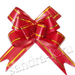 Бант-бабочка 12 мм с золотой полосой красный