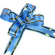 Бант-бабочка 15 мм с золотой полосой синий