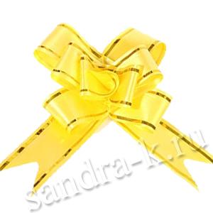 Бант-бабочка 12 мм с золотой полосой желтый