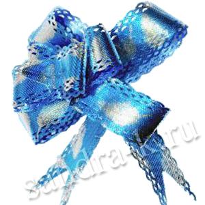 """Бант-бабочка 23 мм мет/тисн/ажур """"Листики"""" синий"""