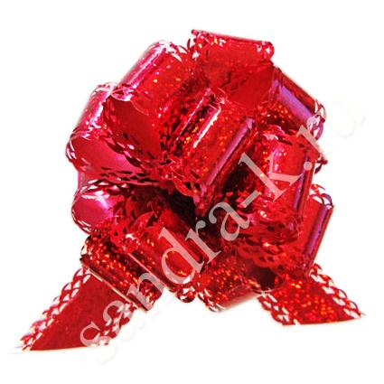 Бант-шар 50ГА голографический ажурный красный