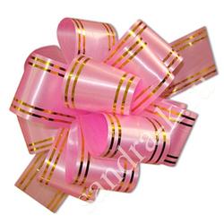 Бант-шар 50В с золотой полосой светло-розовый