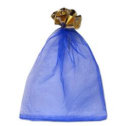 Мешочек для подарков синий 20-30 см с золотой каймой