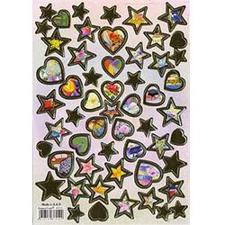 Наклейка сердца и звезды металл. 47012