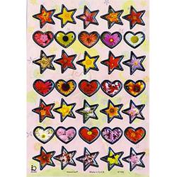Наклейка сердца и звезды металл. 47192